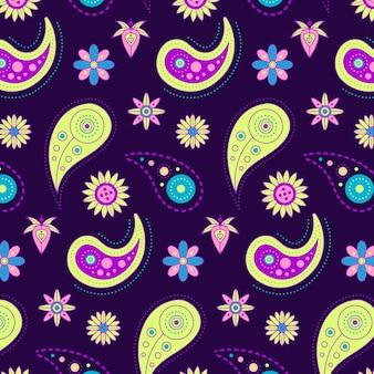 Padrão colorido de paisley desenhado