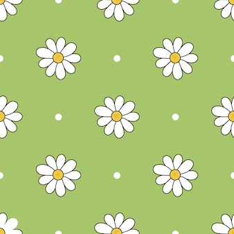 Padrão colorido de vetor de flor de camomila de tamanhos diferentes com fundo verde e pontos brancos