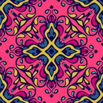 Padrão colorido étnico festivo abstrato damasco florescer vetor