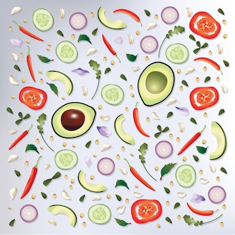 Padrão colorido raw food background vector illustration