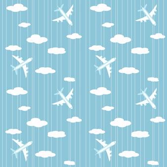 Padrão com a imagem de aviões e nuvens em um fundo listrado de azul