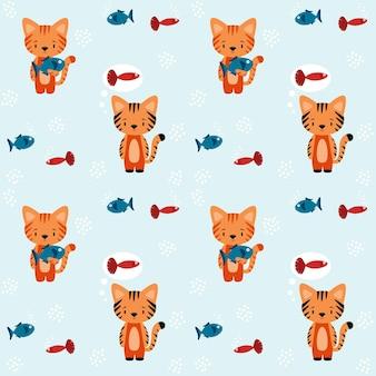 Padrão com a imagem de gatos com peixes. um gato segura um peixe nas patas, o outro sonha com um peixe. ilustração vetorial