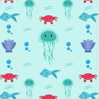 Padrão com animais do oceano