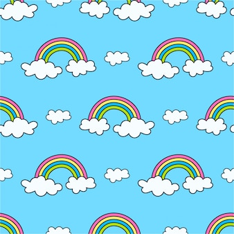 Padrão com arco-íris e nuvens no céu
