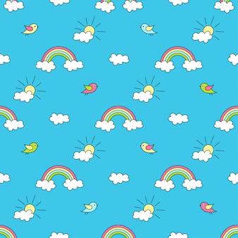 Padrão com arco-íris, sol, nuvens e pássaros