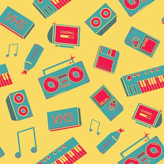 Padrão com as coisas da velha escola. fundo com sintetizadores, gravador, telefone e outros elementos.