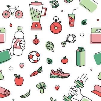 Padrão com atributos de estilo de vida saudável