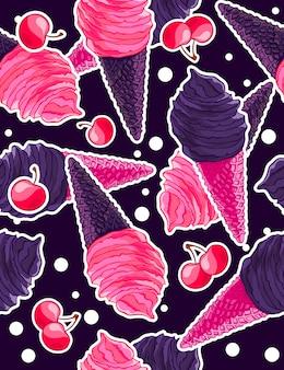 Padrão com bagas e cones de sorvete pretos góticos