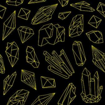 Padrão com belas gemas, cristais ou pedras preciosas desenhados à mão com linhas de contorno amarelas sobre fundo preto.