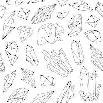 Padrão com belas pedras preciosas facetadas, cristais minerais, pedras preciosas naturais desenhadas à mão com linhas de contorno pretas