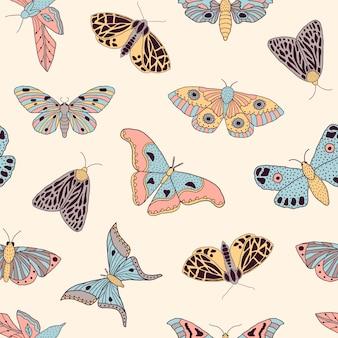 Padrão com borboletas e mariposas