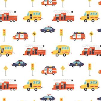 Padrão com caminhão de bombeiros, ambulância, polícia e sinais de trânsito. papel digital do berçário, ilustração vetorial desenhada à mão