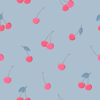 Padrão com cerejas em um fundo cinza-azulado. padrão sem emenda de inverno em um estilo simples. feito em vetor