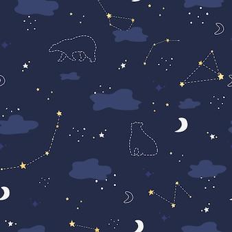 Padrão com céu noturno urso polar e constelações, nuvens, lua crescente e estrelas ursa maior