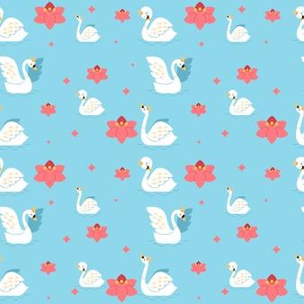 Padrão com cisne branco e coroa