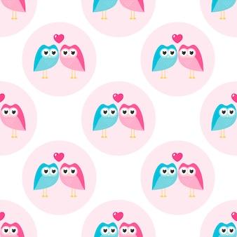 Padrão com corujas amorosas