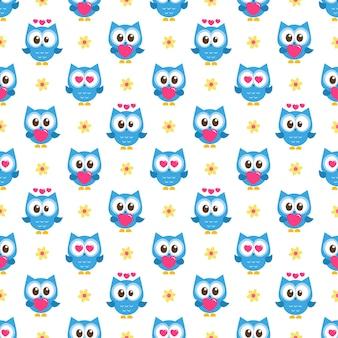 Padrão com corujas azuis com corações