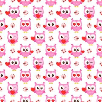 Padrão com corujas e corações rosa