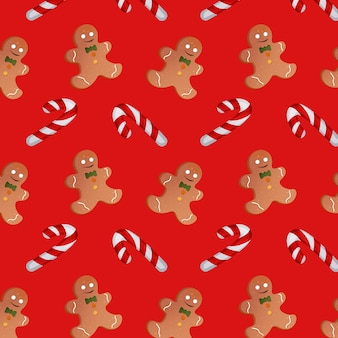 Padrão com doces de natal e bonecos de gengibre em um fundo vermelho. ilustração vetorial