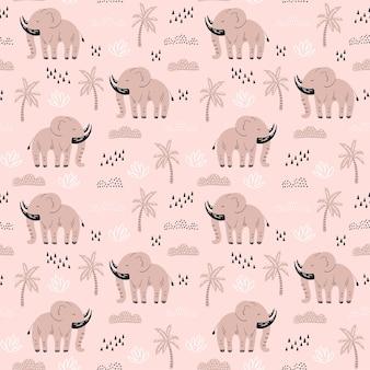 Padrão com elefantes desenhados à mão