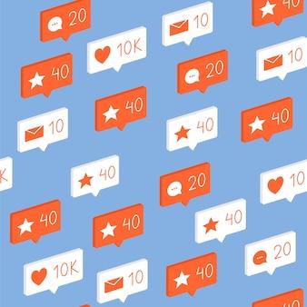 Padrão com elementos de redes sociais, ícones, gostos, comentários, mensagens sem costuras.