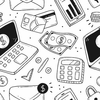 Padrão com elementos sobre o tema de pagamento online, negócios e finanças no estilo cartoon doodle