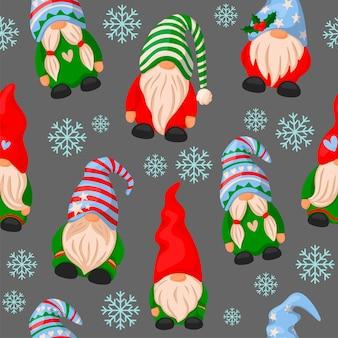 Padrão com estilo de desenho animado de gnomos de natal
