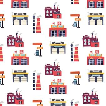 Padrão com fábrica de edifícios de manufatura, oficina mecânica, chaminé, posto de gasolina. papel digital do berçário, ilustração vetorial desenhada à mão