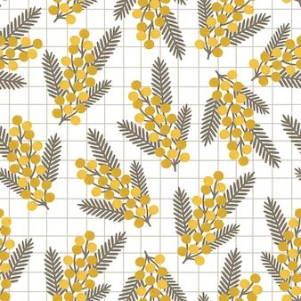 Padrão com flores amarelas e folhas de mimosa