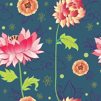 Padrão com flores de lótus, peônias e crisântemos
