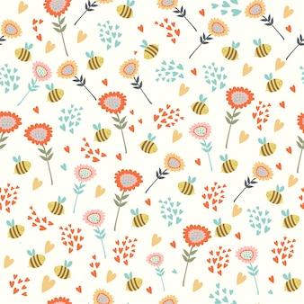 Padrão com flores e abelhas
