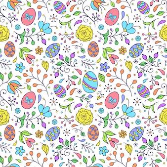Padrão com flores e ovos de páscoa