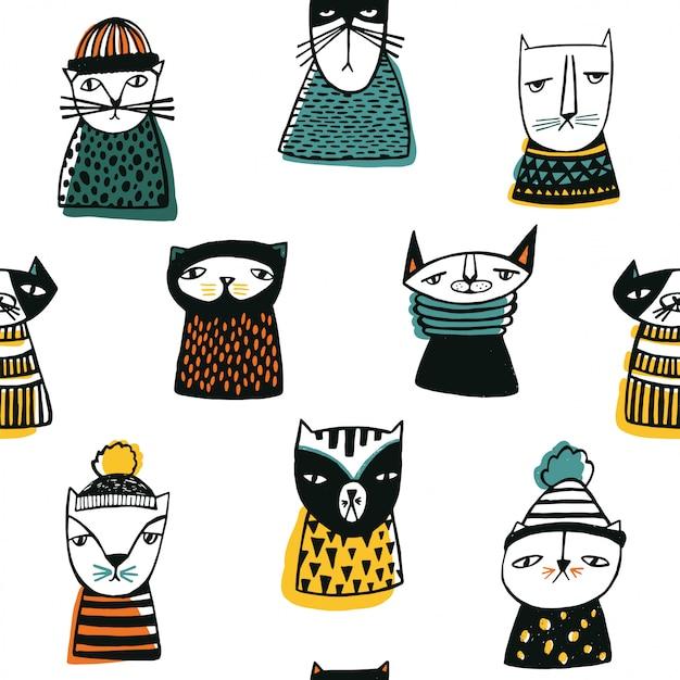 Padrão com focinhos de gatos engraçados dos desenhos animados.