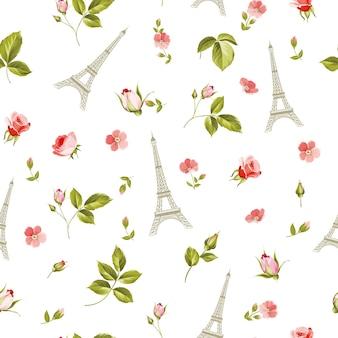 Padrão com folhas de flores vermelhas e a torre eiffel.