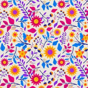 Padrão com folhas e flores exóticas