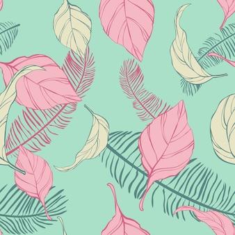 Padrão com folhas tropicais