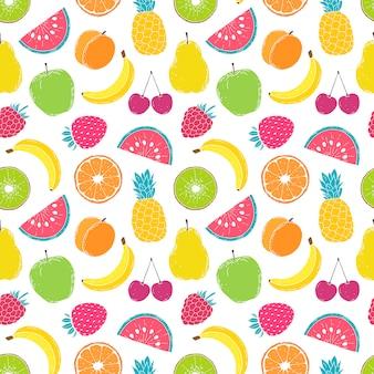 Padrão com frutas coloridas