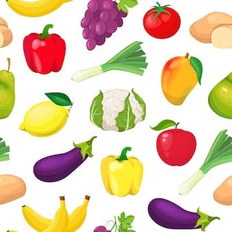 Padrão com frutas e legumes