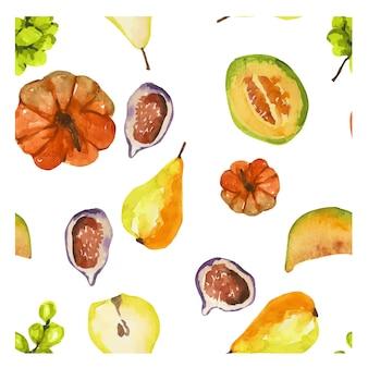 Padrão com frutas e vegetais de outono
