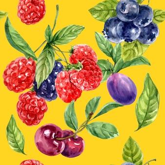Padrão com frutas vermelhas e roxas, modelo de ilustração de cores de contraste