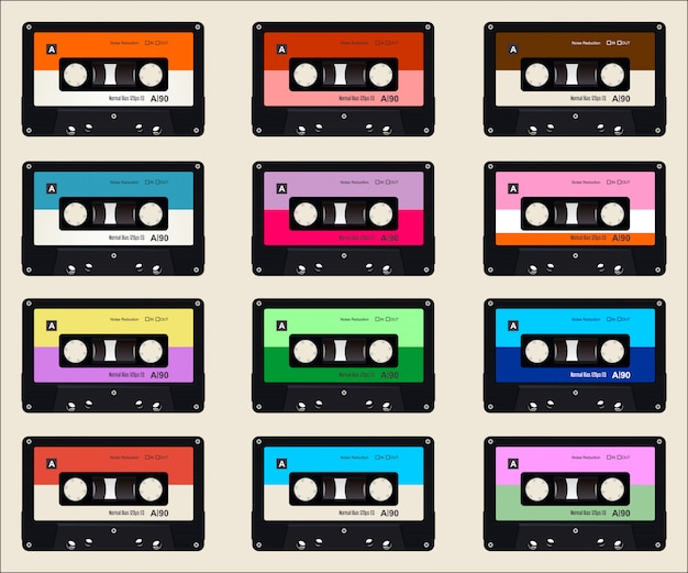Padrão com fundo colorido de cassetes de áudio antigo