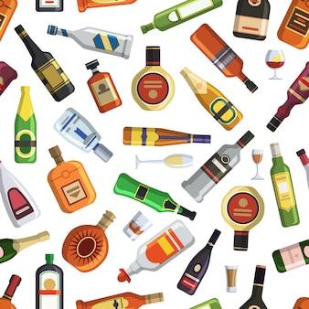 Padrão com garrafas alcoólicas coloridas e óculos