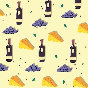 Padrão com garrafas de vinho, cacho de uvas e queijos