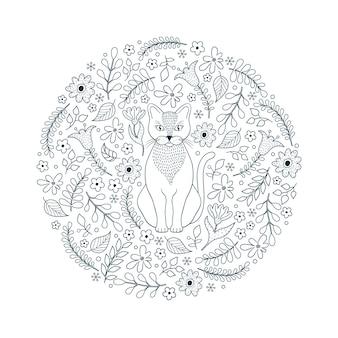 Padrão com gato e flores em fundo branco