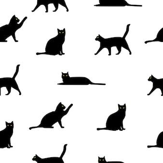 Padrão com gatos pretos gráficos vetoriais