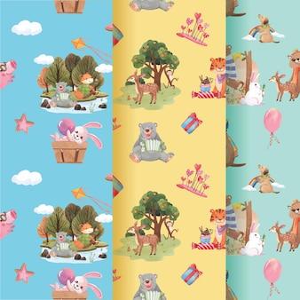 Padrão com ilustração em aquarela de conceito de animais felizes