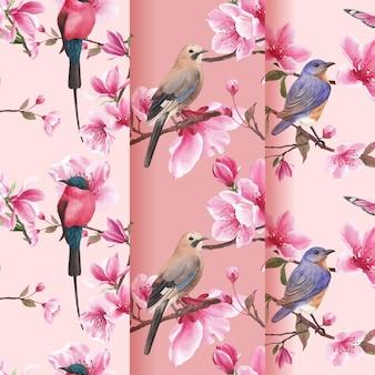 Padrão com ilustração em aquarela de design de conceito de pássaro em flor