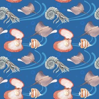 Padrão com ilustração em aquarela de design de conceito de vida marinha