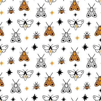 Padrão com insetos mágicos besouro mariposa