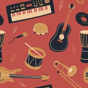 Padrão com instrumentos musicais dia internacional da música